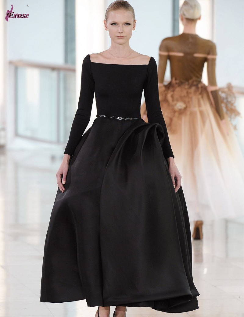 2016 Fashion Design Ball Gown Boat Neckline Long Sleeve Ankle Length ...