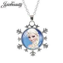 JOINBEAUTY, Женская Длинная цепочка со снежинками, ювелирное изделие, стеклянный кабошон, принцесса Эльза, Анна, снежный кулон в виде королевы, ожерелье для девочек ES135