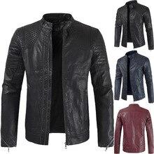 Куртка из искусственной кожи, Весенняя новая мужская куртка из искусственной кожи, тонкая куртка из искусственной кожи для мотоцикла, куртка из искусственной кожи большого размера, куртка из искусственной кожи