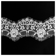 3Meter/Lot Eyelash Lace Fabric Embroidery Trim Material Applique Black White 7cm/Width Clothing accessories Decoration