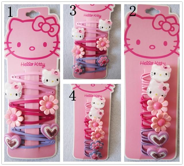 Fashion Children Headwear Bowknot Hello Kitty Hair Clips Gum Elastic Bands Accessories Barrettes Scrunchies For