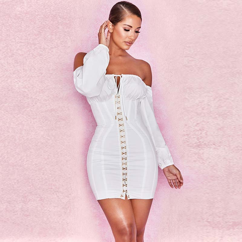 19 Summer Dress Women Fashion Solid Casual Regular Long Sleeve Sexy Club Slash neck Bangdage Sheath Women Dresses Vestidos 9