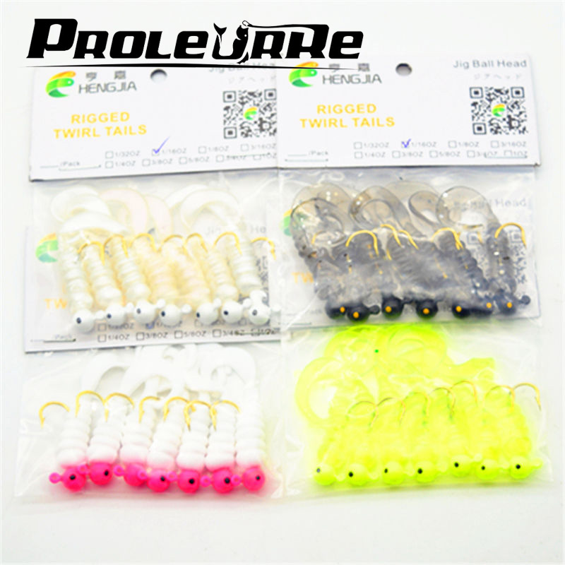 7 Pcs/Lot  2.7g 5cm Fishing Lure Screw curly tail Soft Bait Jig Head Worm Barbed Hooks  Fish Bait silicone bait YR-166 fishing soft lure screw t tails 75mm 2g long tail fish bait lot 3 pieces