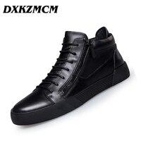 DXKZMCM Men Boots Comfortable Genuine Leather Plus Velvet Warm Boots Quality Autumn Ankle Boots For Men