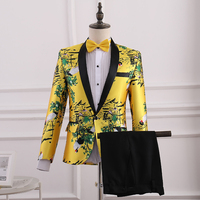 Men Gold Yellow 2 Piece Set Quality Red crowned Crane Pattern Brocade Jacquard Suits Wedding Groom Tuxedo Stage Costume with Tie