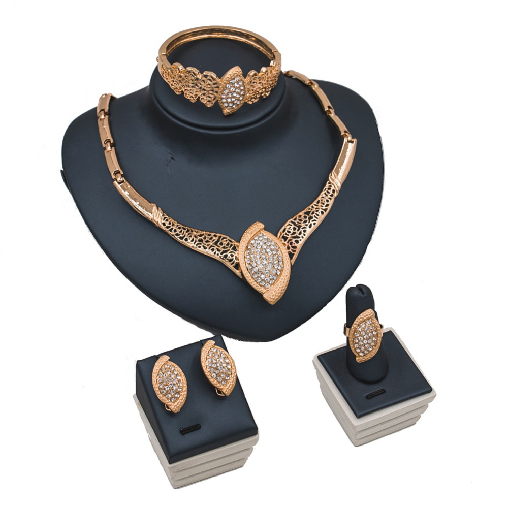 LAN PALACE ethiopian jewelry gold color ladies jewellery set earrings necklace ring bracelet free shipping