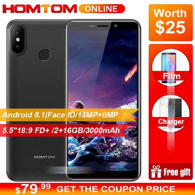 "HOMTOM C2 5.5"" 18:9 HD+ 4G Smartphone Android 8.1 2GB RAM 16GB ROM Quad Core Smartphone Face ID Dual Back Cameras Mobile Phones"
