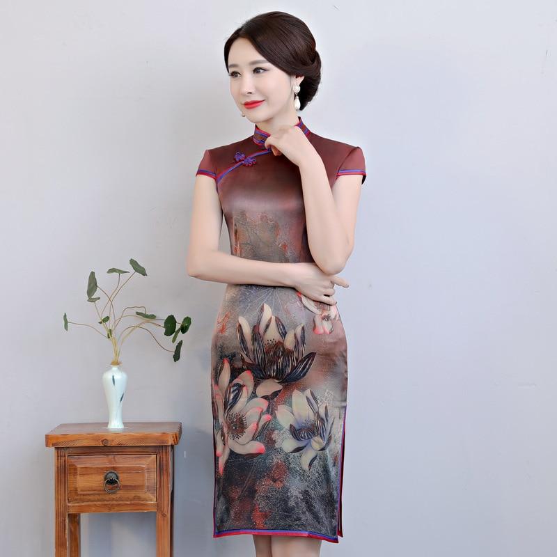 New Arrival Silk Mini Cheongsam Fashion Chinese Short Style Qipao Women's Elegant Slim Dress Vestidos Size M L XL XXL XXXL 9996 женское платье brand new 2015 vestidos 5xl s m l xl xxl xxxl 4xl 5xl