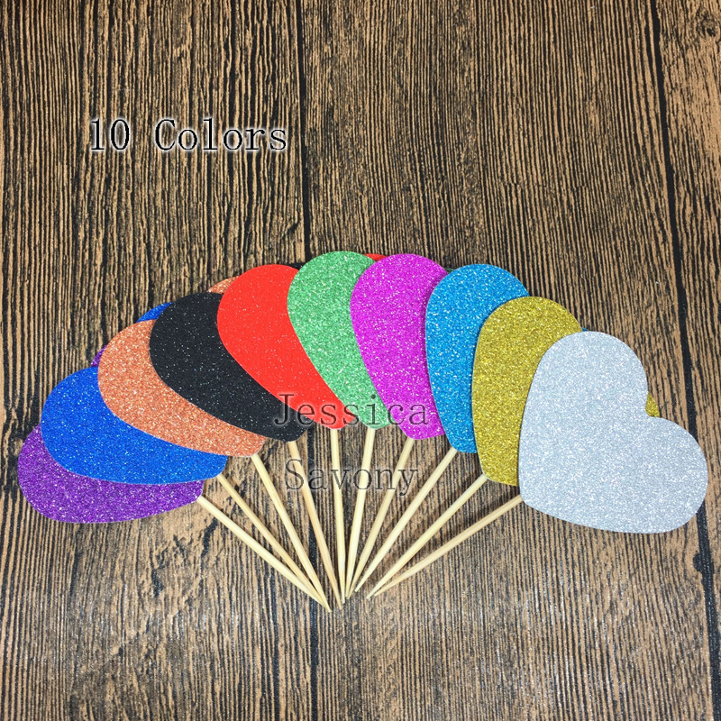Home Cake Decorating Supply Co: 60pcs Glitter 50mm Heart Shape Cupcake Toppers Party