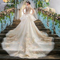 LS00405 robe mariage vestidos de novia 2017 brautkleid matrimonio sexy dress bridal long tail wedding dresses cathedral abiye