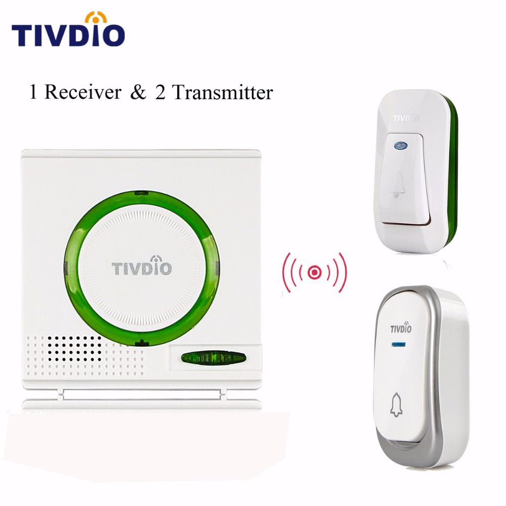 TIVDIO T-802 Wireless Waterproof Battery Doorbell Chime Kit Remote Button Green 1 Receiver+2 Transmitter Home Security F9508 wireless home security door bell call button access control with 1pcs transmitter launcher 1pcs receiver waterproof f3310b