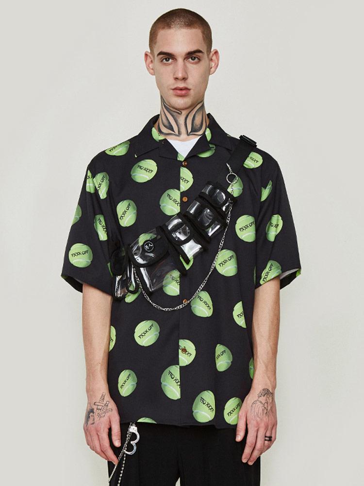 Мужская рубашка с коротким рукавом и принтом тенниса, весна лето - 2