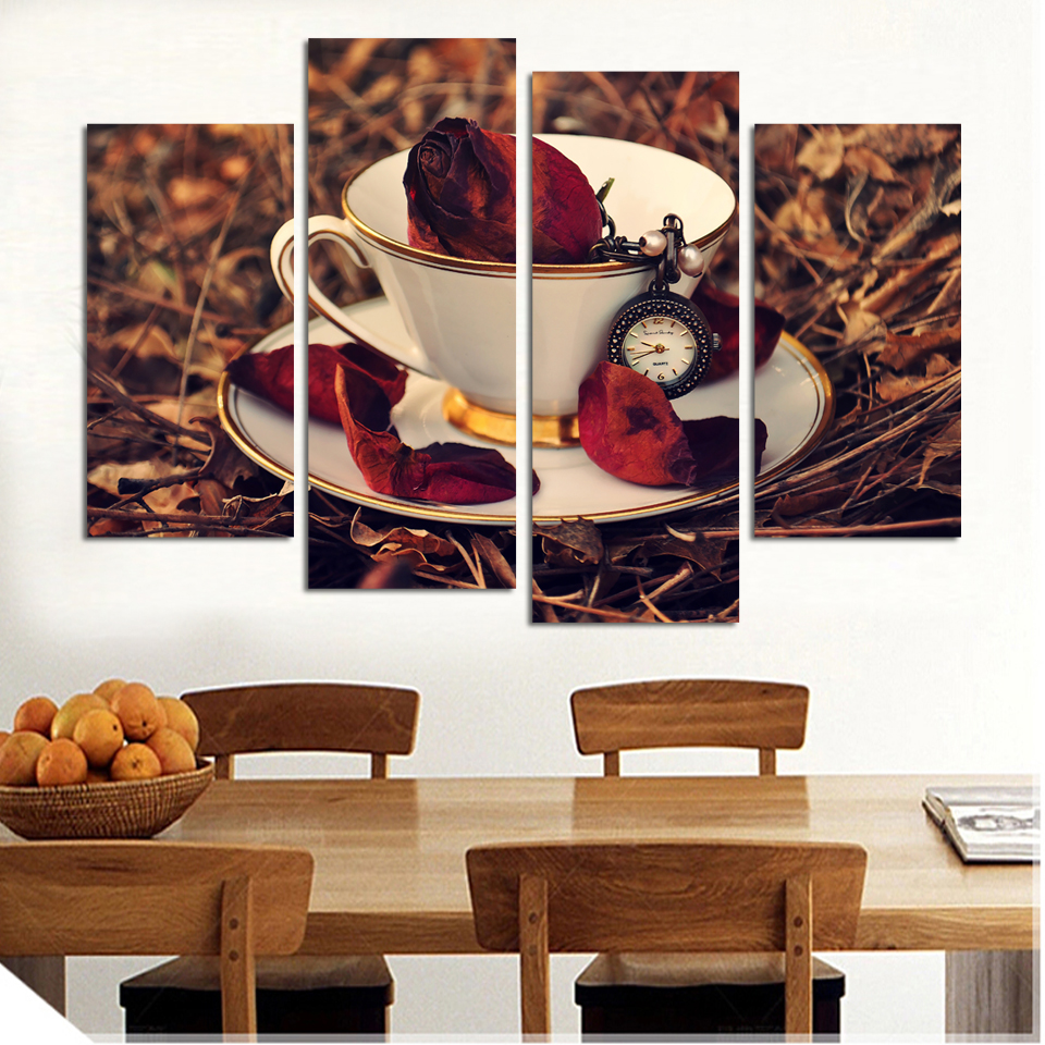 Hot Kitchen 4 Piece Wall Modern Nostalgic Coffee Flower Painting Home Art Picture Paint On Canvas