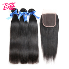 hot deal buy bff girl brazilian straight hair bundles with closure 3 human hair bundles with closure 4*4 non remy hair weaves with closure
