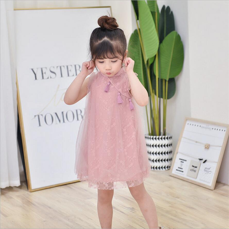 Modern cheongsam dress for girls 2019 summer beautiful chinese kids clothes baby qipao style lace dress white pink blue girl