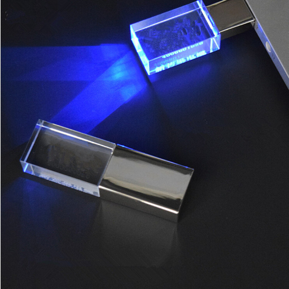 Hot italian novelties Crystal Transparent Led Metal Usb flash drive Usb memory stick disk Custom logo usb flash drive crystal