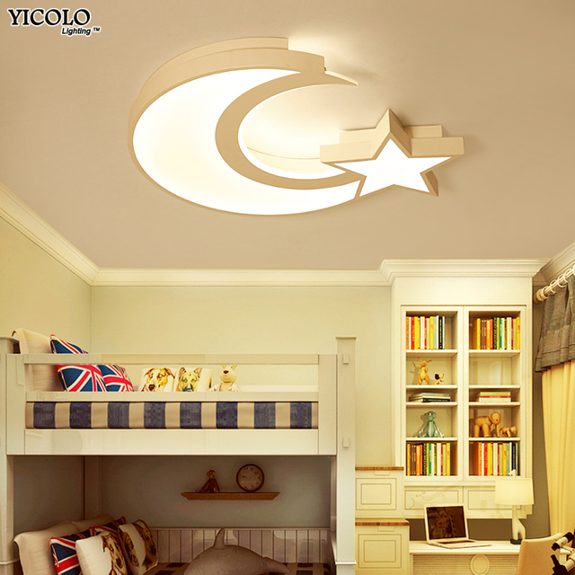 Led Ceiling Lights In Moon And Star Shape For Children Baby Room Lamps With White