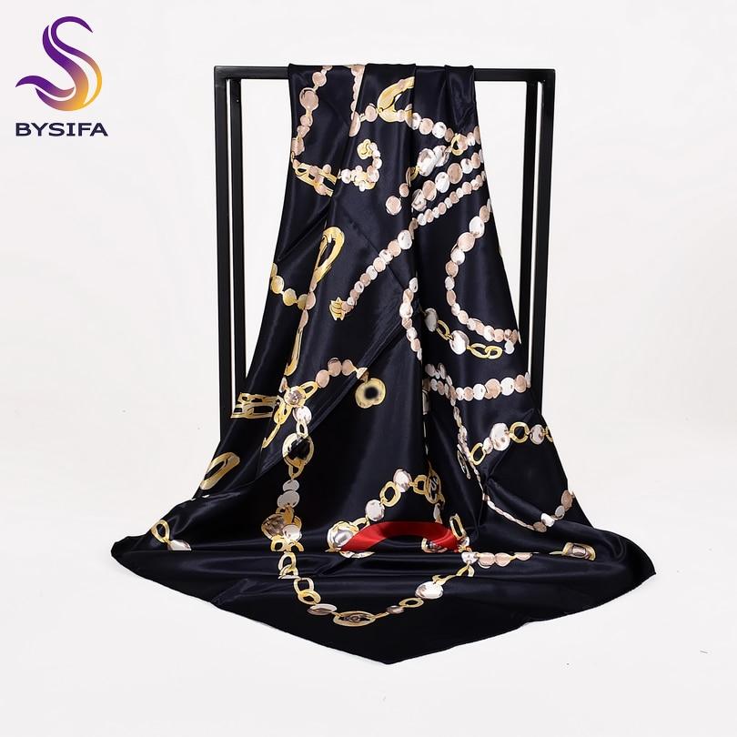 [BYSIFA] Ladies Black Silk Scarf Shawl Fashion New Brand Chain Square Scarves Wraps 90*90cm Spring Autumn Muslim Head Scarf Cape
