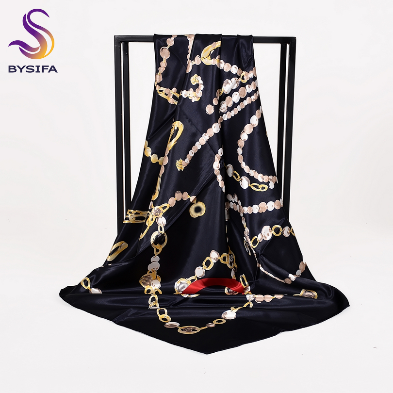 [BYSIFA] Ladies Black Silk   Scarf   Shawl Fashion New Brand Chain Square   Scarves     Wraps   90*90cm Spring Autumn Muslim Head   Scarf   Cape