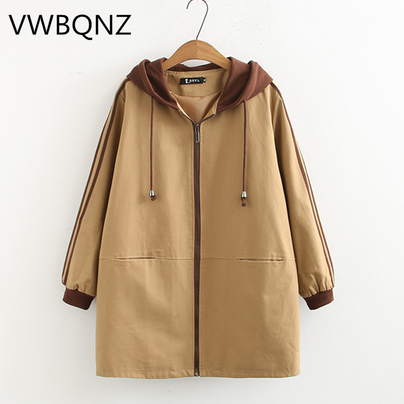 Female Windbreaker 2019 Spring Autumn New Fashion Loose Hooded Coat Medium Long Overcoat Large Size Women Casual Trench Coat 4XL