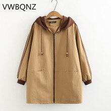 Female Windbreaker 2019 Spring Autumn New Fashion Loose Hooded Coat Medium long Overcoat Large size