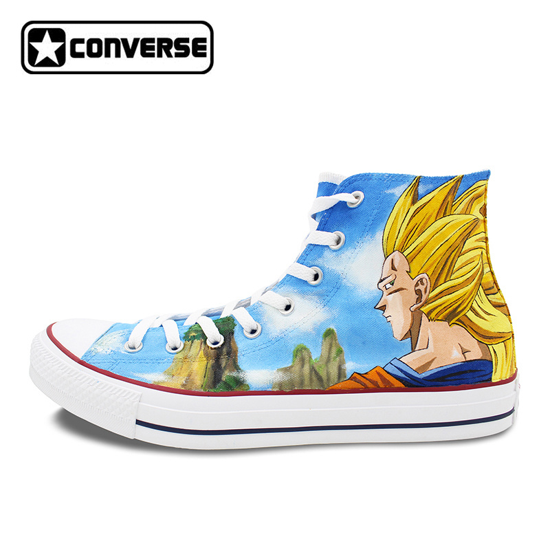 Women Men Converse All Star Canvas Shoes Anime Dragon Ball Z Son Goku Design Custom Hand Painted Shoes Sneakers Cosplay Gifts