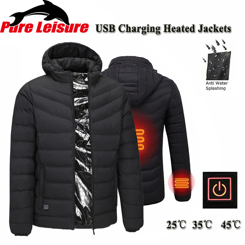 PureLeisure Winter USB Charging Heated Fishing Jackets Men Warm Heating Jackets Smart Thermostat Sports Hunting Skiing