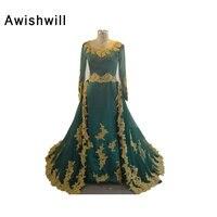 100% Vraie Image Arabe Robes De Soirée Robes Dentelle D'or Avec perle Cour Train Manches Longues Musulman de Soirée Formelle Robe pour femmes