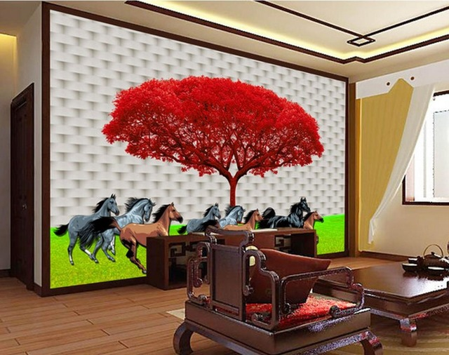 Us 30 0 3d Customized Wallpaper Home Decoration Simple Modern 3d Tree Background Wall Painting Template 3d Name Wallpapers In Wallpapers From Home