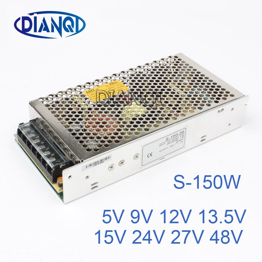 цена на 24V 27V 48V power supply 150w 13.5V 11.2A ac to dc power supply unit ac dc converter S-150 adjustable output voltage 5V 12V 15V