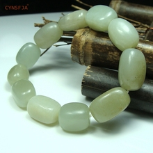 Certified Natural Hetian Jade Nephrite Lucky Bracelets Bangle For Men Green White High Quality Wonderful Gifts