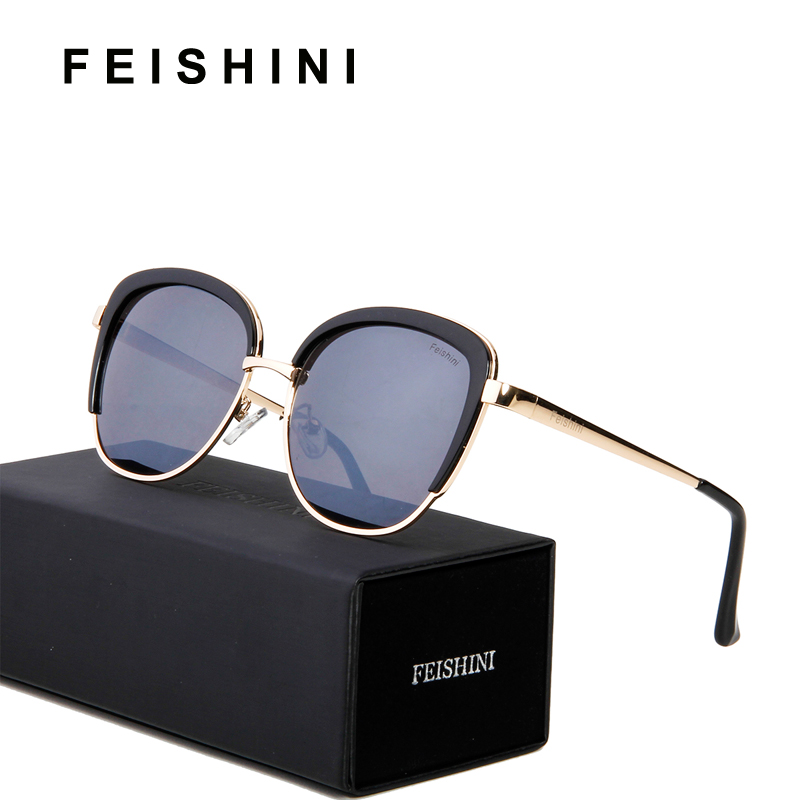 a6edfdae9c FEISHINI UV Protection Anti-Reflective Gradient Cateye Sunglasses Women  Beige White 2019 High Quality Unisex