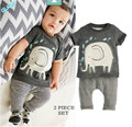2016 Hot Elephant Toddler Baby Boys Clothes Tops T-Shirt Pants 2PCS Outfits Set 0~24M Infant Bodysuit  Baby Boy Clothes