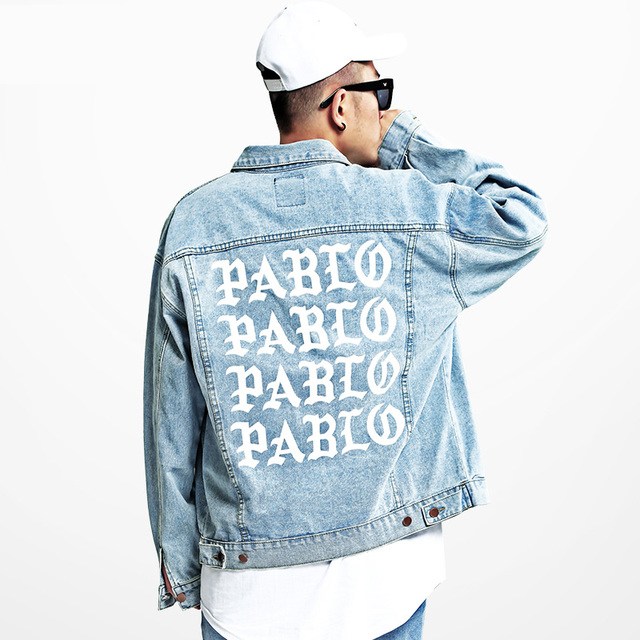 2017 autumn red print pablo light blue denim jacket men