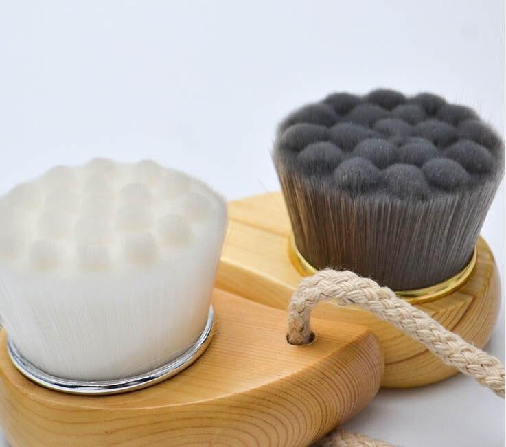 100pcs Massage Tools Wooden handle wash brush manual cleansing brush to black deep clean makeup tools