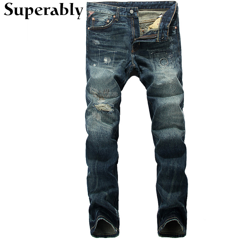 ФОТО Blue Color Denim Men Jeans High Quality Superably Brand Straight Fit Stripe Jeans Mens Pants Destroyed Ripped Jeans Full Length