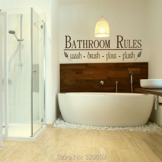 Free Shipping Bathroom Rules Vinly Vinly Decal