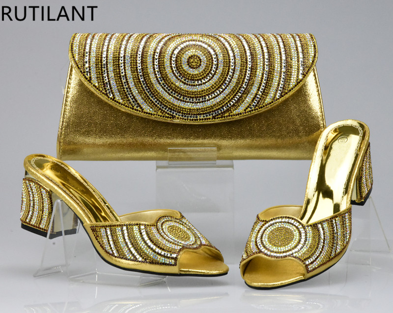 Matching Shoes Decorated Rhinestone Gold-Color High-Quality with Bag-Set And