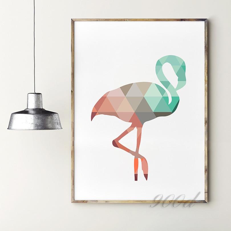 geometric coral flamingo canvas art print poster wall. Black Bedroom Furniture Sets. Home Design Ideas