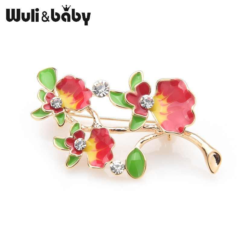 Wuli Bayi Paduan Phalaenopsis Bunga Bros untuk Wanita Merah Enamel Bunga Pernikahan Bros Pin Perhiasan Hadiah Natal