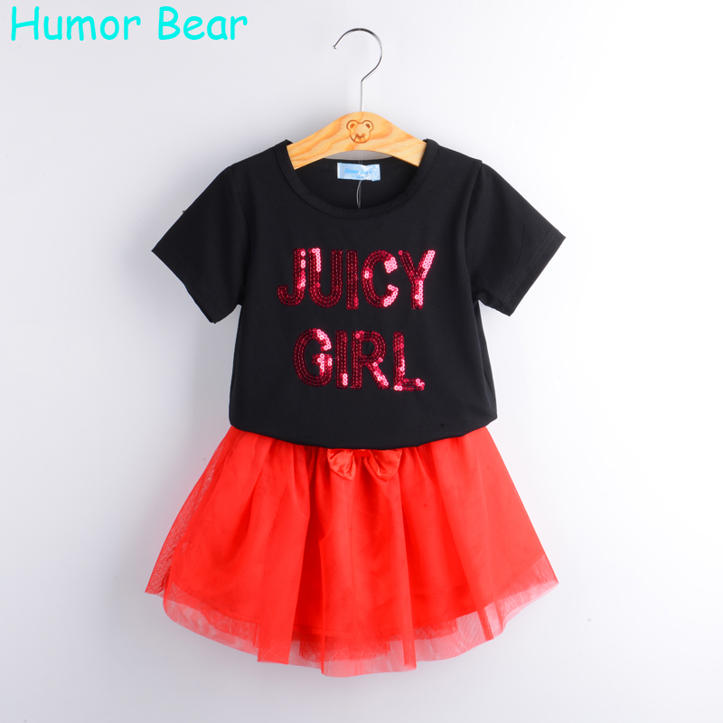 Humor Bear Fashion 2017 NEW Girls Cartoon Summer Clothes Baby Suits Kids Sequins Letter T Shirt + Dress Children Clothing Set fashion minnie t shirt long tutu skirt 2 pcs baby girls clothing children cartoon suits new summer clothes set free shipping