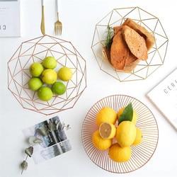 Chic Metal Table Storage Basket Vogue Modern Minimalist Scandinavian Nordic Hollow Rose Gold Desk Storage Basket Organizer Decor