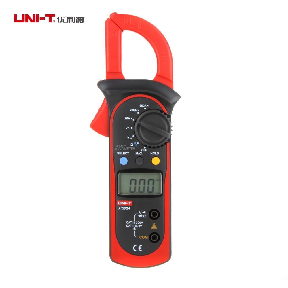 UNI-T UT202A Digital Current Clamp Meter diagnostic-tool 600A DC/AC Multimeter Volt Amp Ohm HZ Temp Capacitance Tester NCV Test uni t ut70b lcd digital multimeter volt amp ohm temp capacitance tester