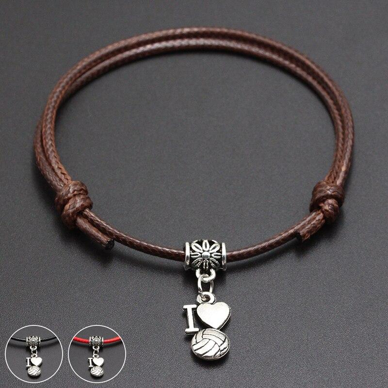 2020 New I Love Vollayball Pendant Red Thread String Bracelet Lucky Black Coffee Handmade Rope Bracelet for Women Men Jewelry