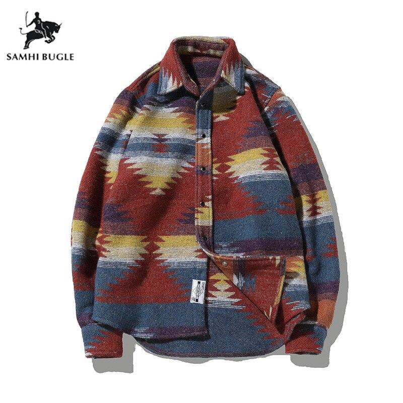 Folk custom Shirts for Men Vintage Woolen Leisure Pattern dress casual Shirt Men Plus Size 5XL Streetwear Chemise Homme flannel