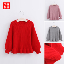 Girl Sweater 2016 Autumn Children Lotus Leaf Edge Pullover Unlined Upper Garment Solid Color Wire Sweater Girl Knitting Clothes