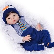 23 дюймов Boneca bebes reborn мальчик полный корпус силиконовый винил реборн Младенцы Куклы 57 см реалистичные Новорожденные куклы Детский день подарки