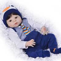23 pollici Boneca bebes reborn ragazzo Pieno Del Corpo Del Vinile Del Silicone Neonati Reborn Bambole 57 centimetri Realistico Bambole Neonato Per Bambini regali di giorno