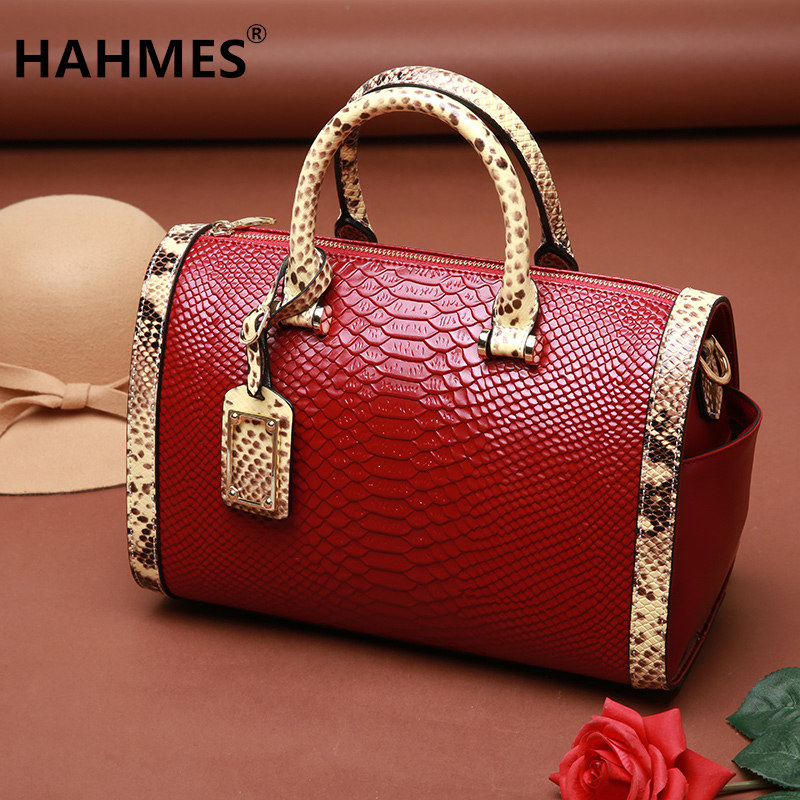 HAHMES 100% Genuine Leather Women's Bag Serpentine design Boston handbag quality cow leather shoulder bag 31cm 10497 hahmes 100