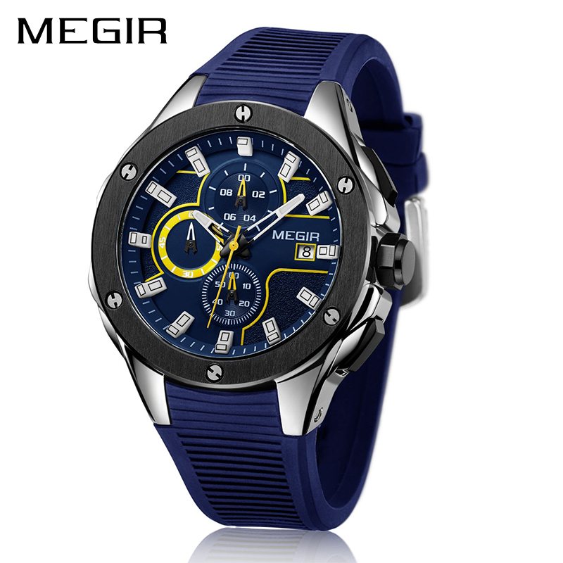 MEGIR Men Sport Watch Chronograph Silicone Strap Quartz Army Military Watches Clock Men Top Brand Luxury Male Relogio Masculino megir sport mens watches top brand luxury male leather waterproof chronograph quartz military wrist watch men clock saat 2017